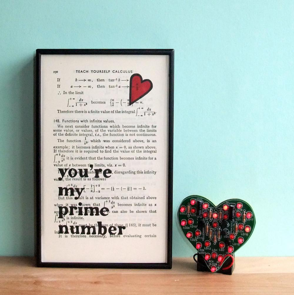 Romantic Typographic Art 'You're My Prime Number' on vintage book page