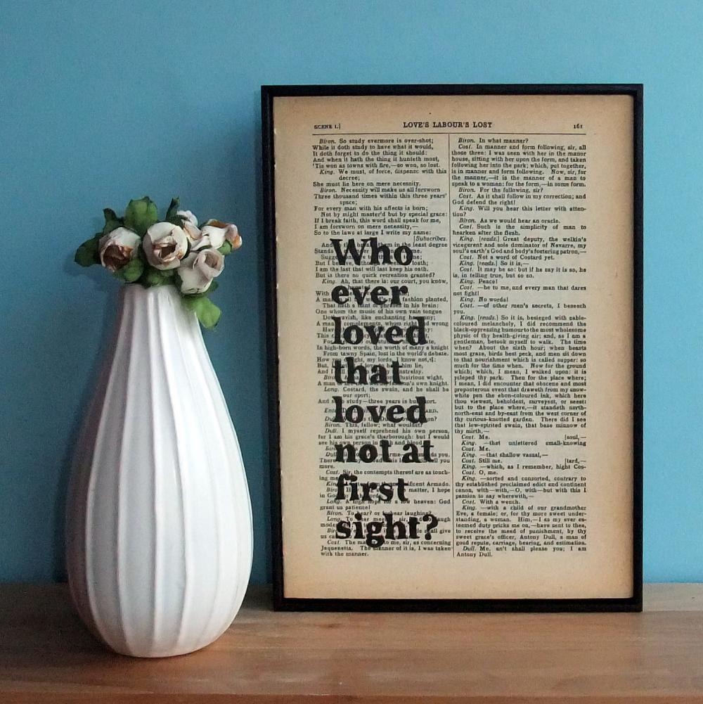 Love at First Sight Typographic Art on Vintage Shakespeare book page