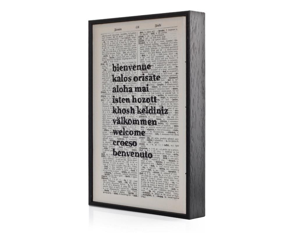 Typographic Altered book art 'Bienvenue' on framed vintage book page