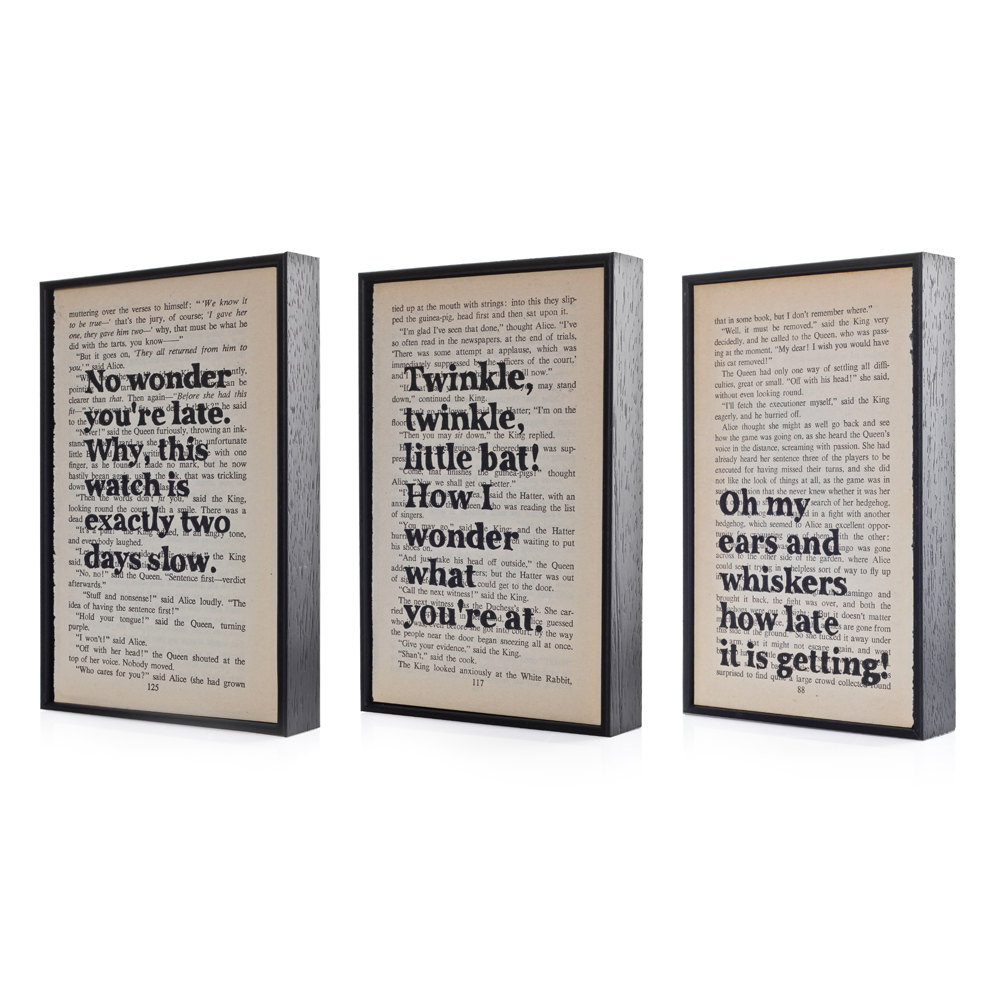 Alice in Wonderland Quotes Altered Book Art Typographic print on vintage book page