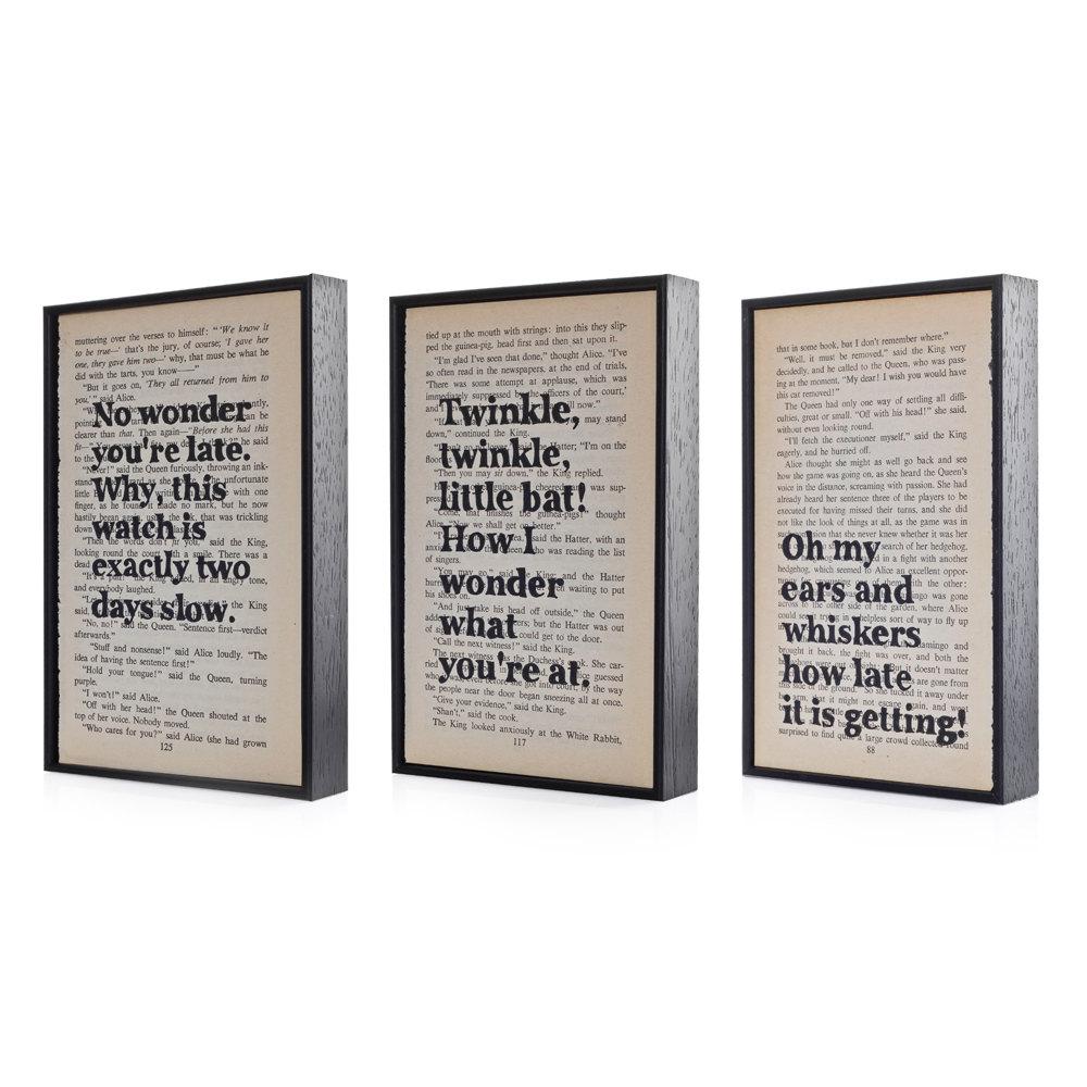 Typographic Book Cover Quote : Alice in wonderland quotes altered book art typographic