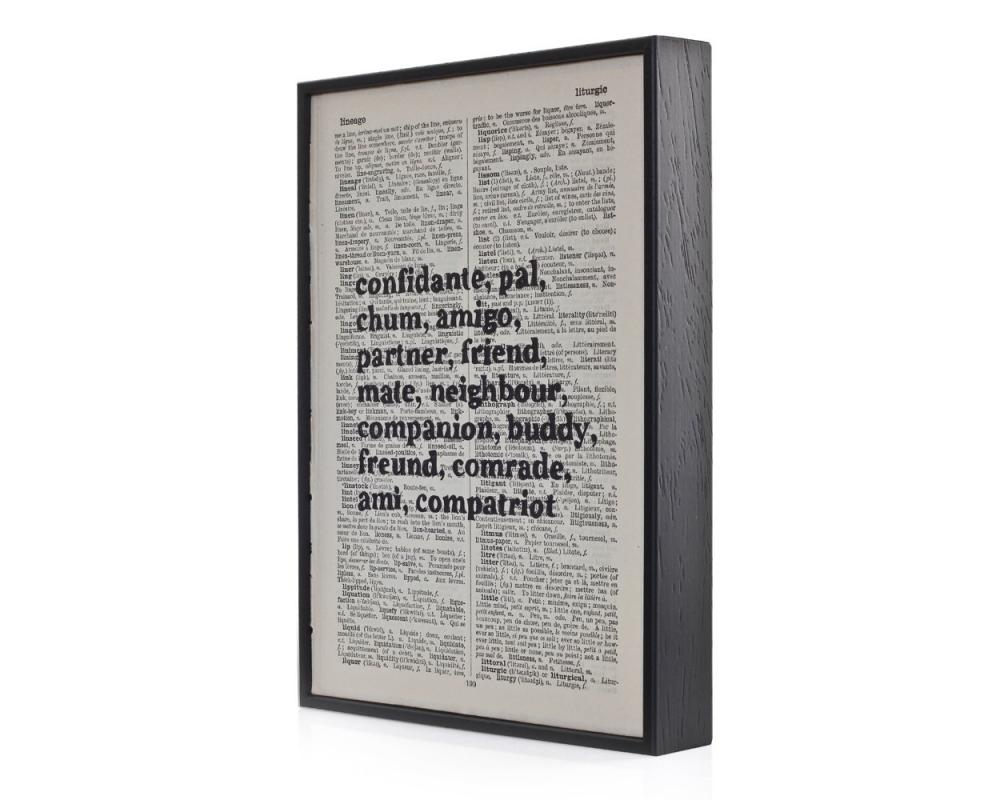 Friendship Typographic Art Print on Framed Antique Dictionary Page