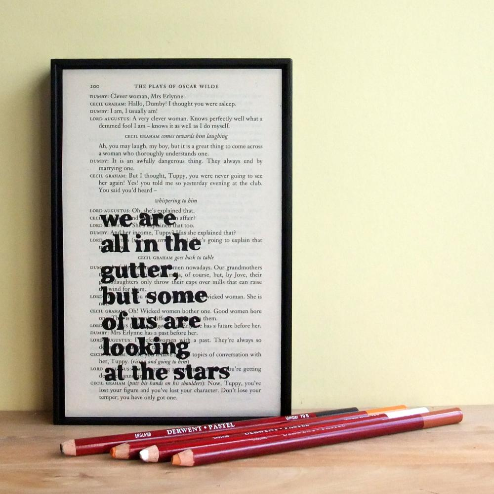 Oscar Wilde Inspirational Quote and Star Framed Altered Book Art