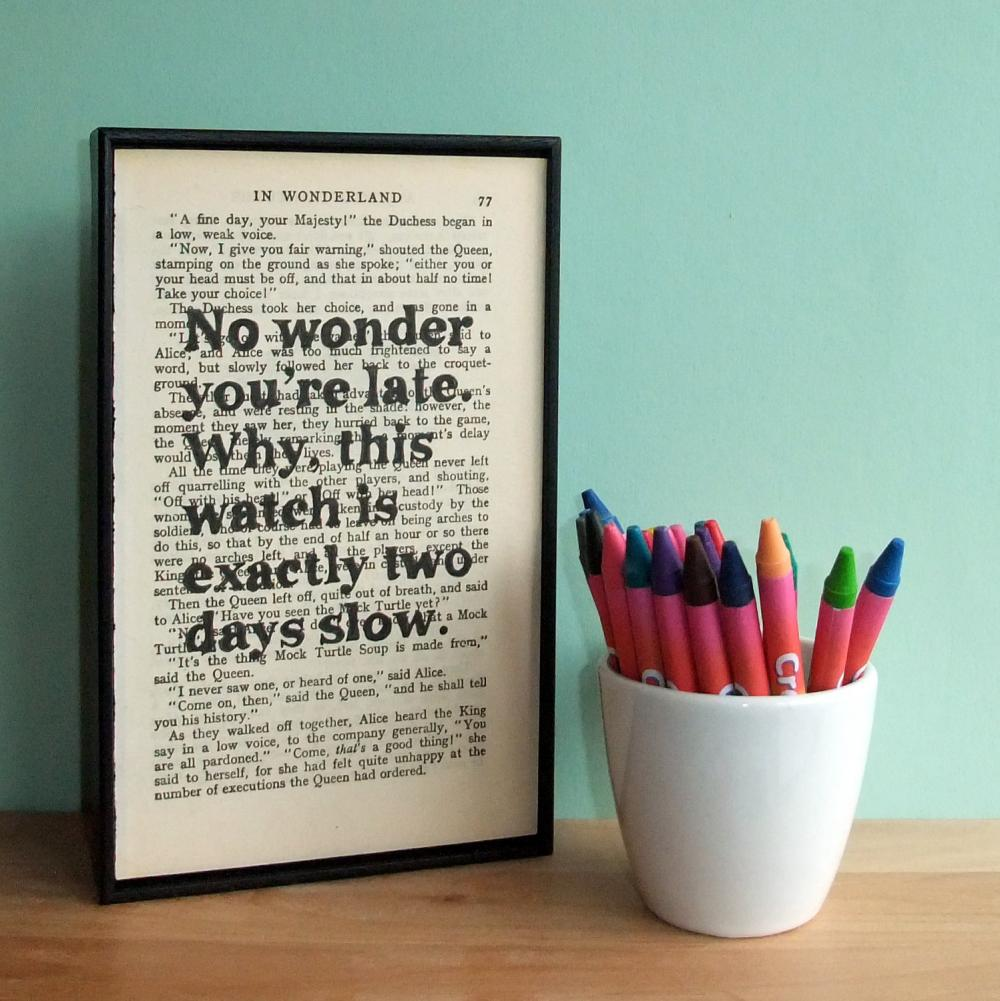 Bespoke Quote Typograhic Art Print on Vintage Book Page