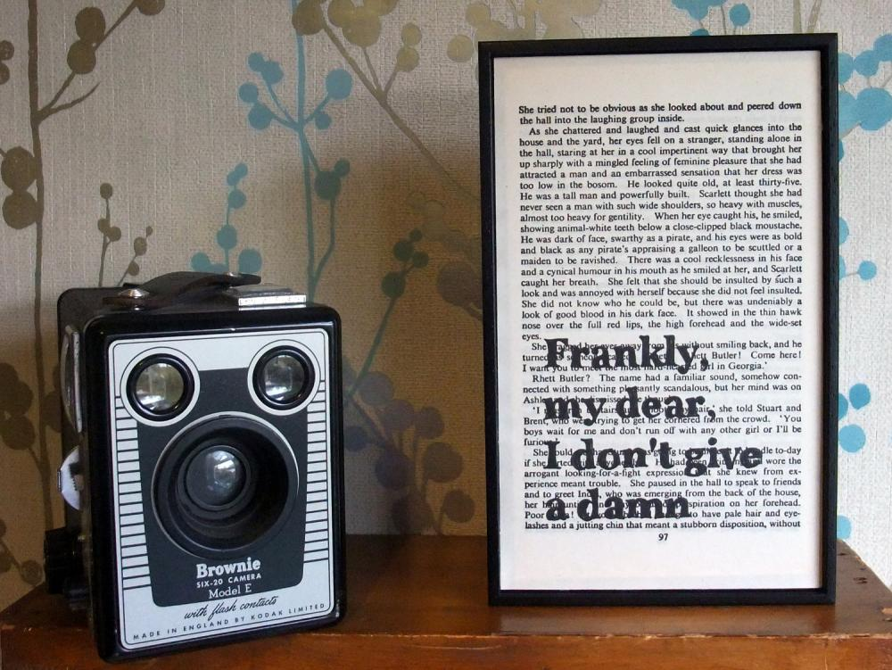 Gone With The Wind typographic art Frankly My Dear text on vintage book page