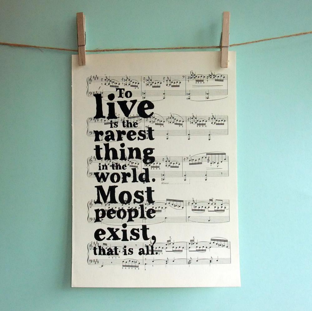 Oscar Wilde Inspirational Quote Typographic Art Print on Vintage Sheet Music