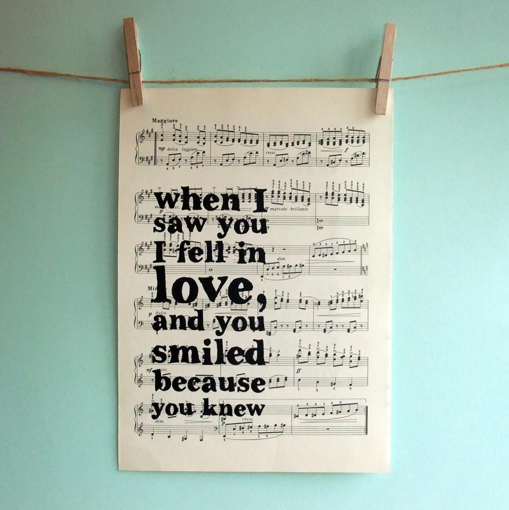 Romantic Inspirational Quote Typographic Art Print on Vintage Sheet Music