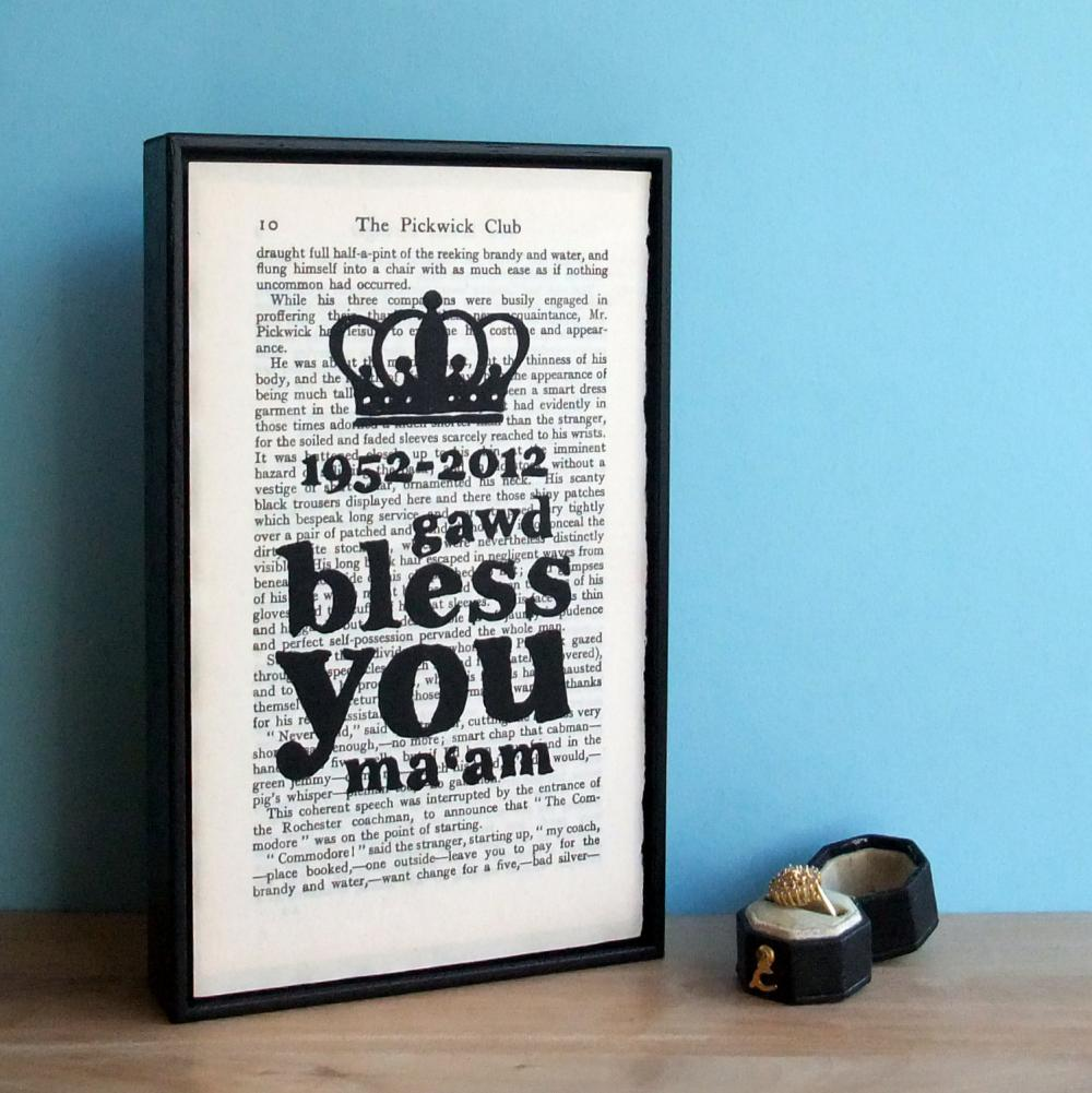 Diamond Jubilee Typographic Art Print Framed with Crown