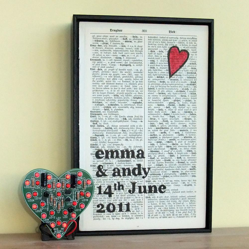 Wedding Gift or Anniversary Gift Bespoke art on vintage dictionary page