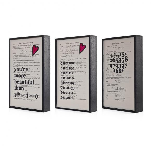 Altered Book Art Geeky Maths Gift Set of Three eco friendly prints on vintage book pages