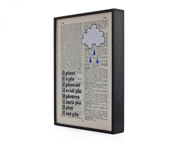 Rain cloud altered book art - framed print on vintage book page
