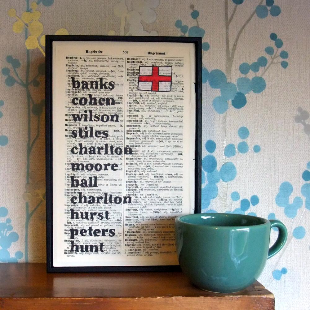 Fathers Day Football 1966 World Cup England Team Art Print on vintage book page