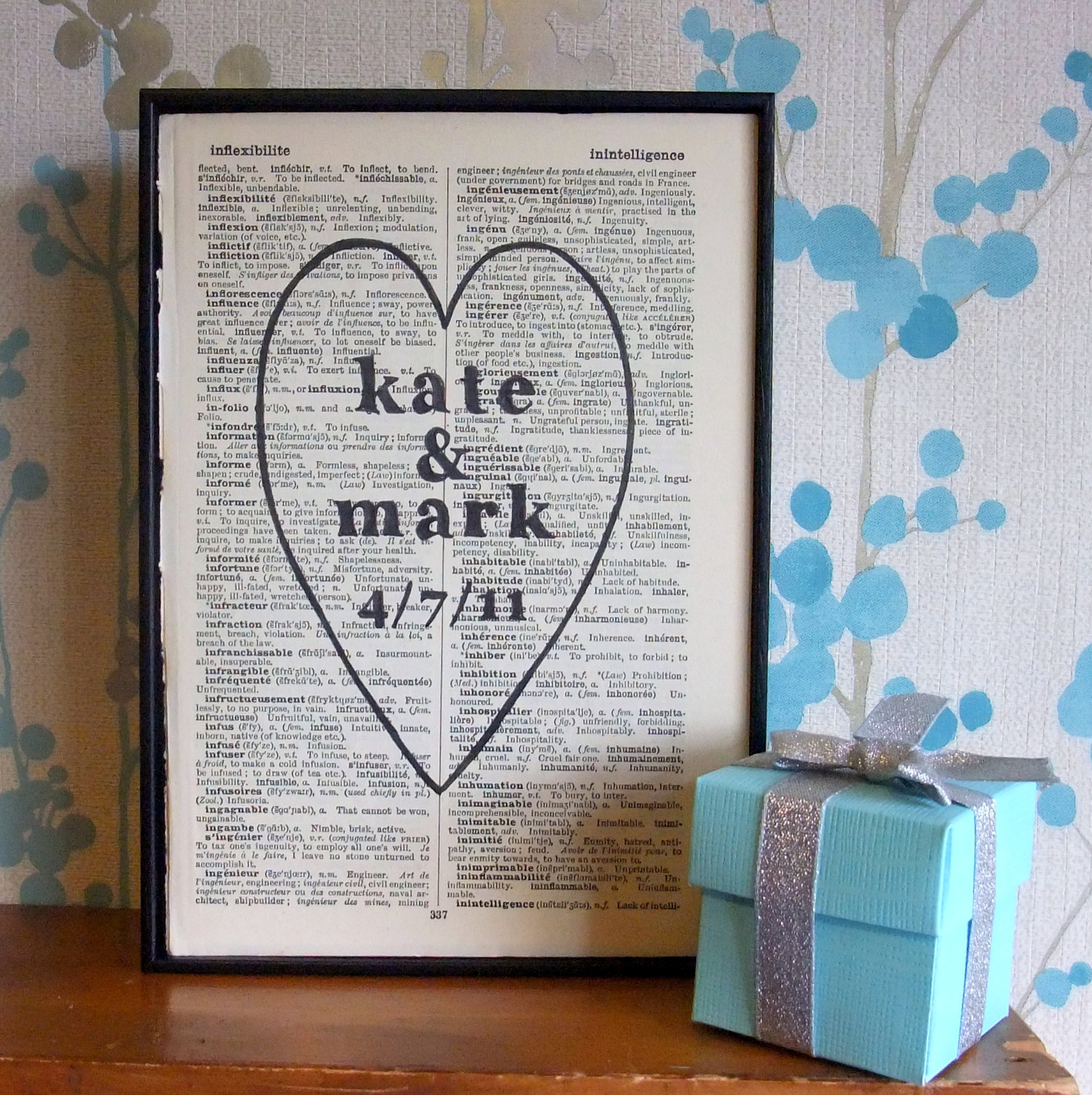 Personalized Wedding Gift Heart Names And Date On Vintage Book Page on ...